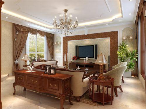 美式四居室客厅装修效果图大全