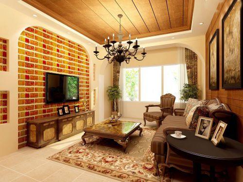 美式风格客厅原木色家具装修效果图