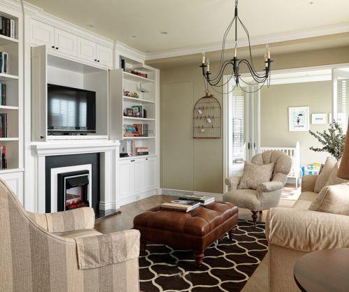 米色时尚高雅美式风格客厅装修效果图