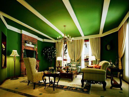 美式风格五居室客厅隔断装修效果图