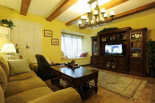 美式乡村风六居室客厅窗帘装修图片