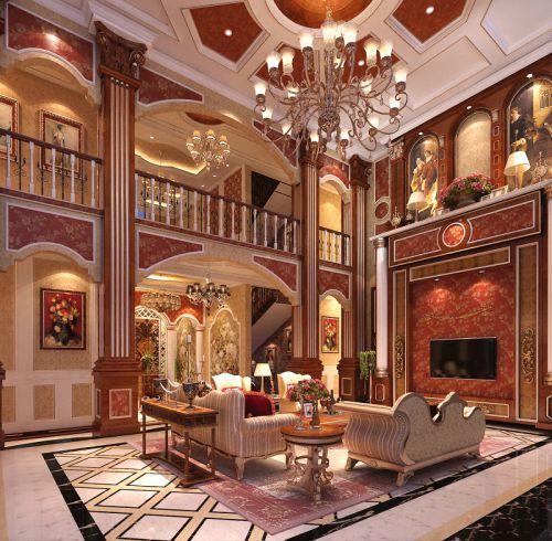 美式新古典六居室客厅装修效果图