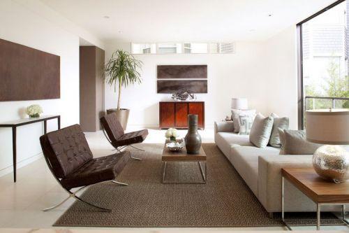 清新三居室美式风格客厅实景图