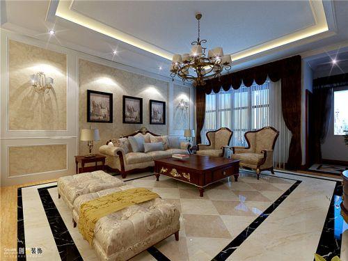 简约美式风格客厅沙发背景墙壁纸装修图片