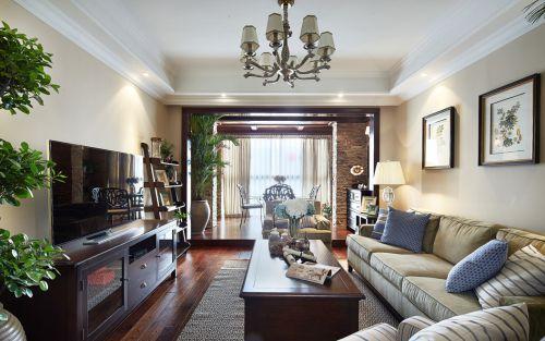 116平米时尚美式风格客厅三居室装修样板间