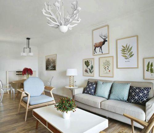 美式风格90平三居室客厅白色背景墙效果图