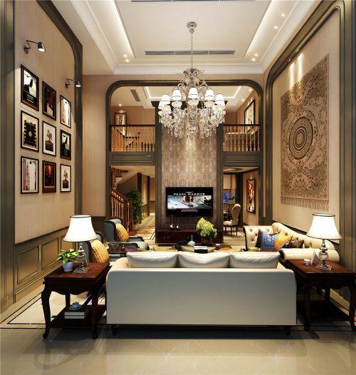 美式别墅客厅背景墙效果图