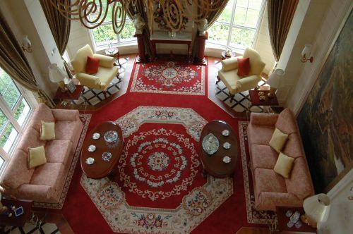 美式风格别墅原木色茶几效果图