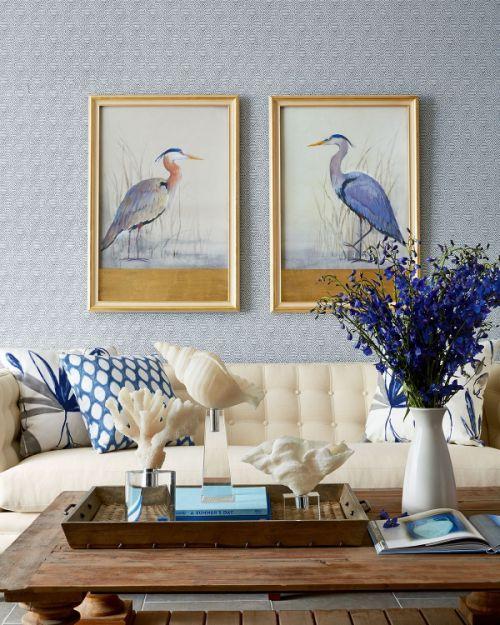 蓝色雅致美式风格客厅背景墙装修设计