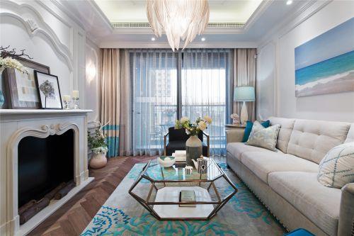 雅致美式风格蓝色客厅装修设计