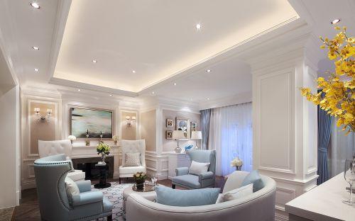 清新美式三居室客厅茶几装修效果图