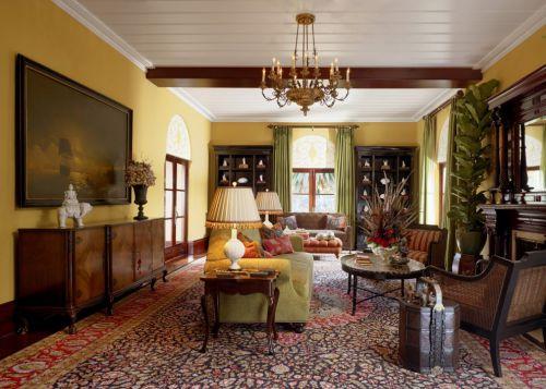 美式风格客厅绿色窗帘装修效果图
