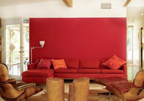 美式乡村风格红色客厅背景墙