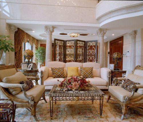 美式沙发背景墙屏风设计效果图