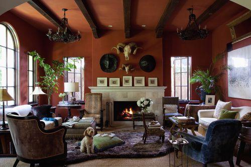 典雅美式风格温暖色调客厅实景图