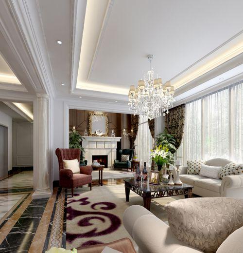白色典雅魅力美式客厅装修效果图