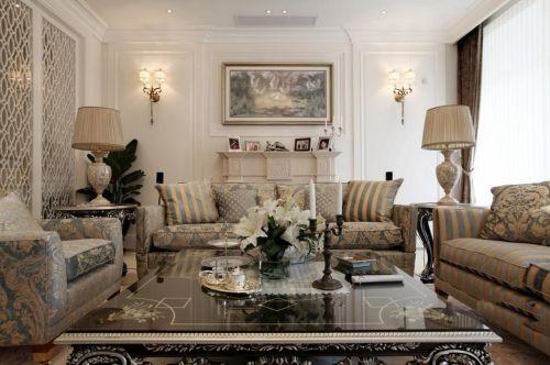 白色镂空黄蓝撞色沙发美式客厅装修效果图