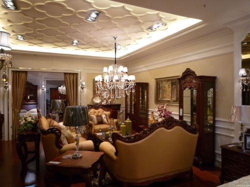 三居室美式华美白色客厅吊灯灯具效果图