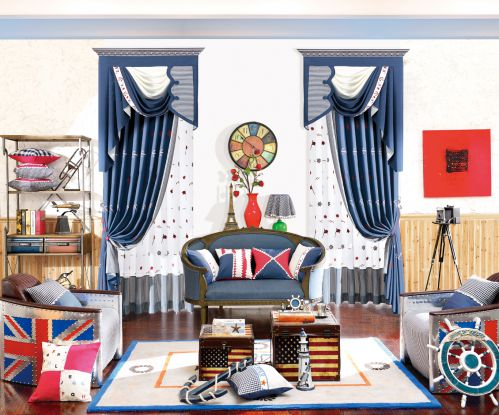 蓝色美式客厅窗帘效果图