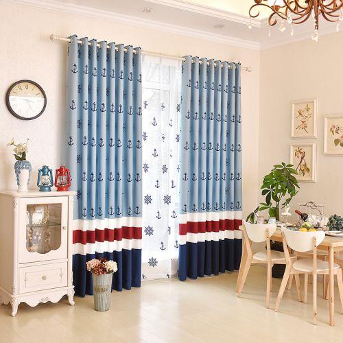 蓝色拼接美式客厅窗帘效果图