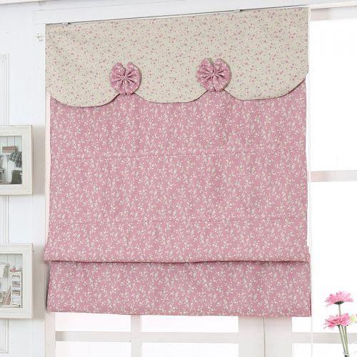 粉色蝴蝶结美式卧室罗马窗帘效果图