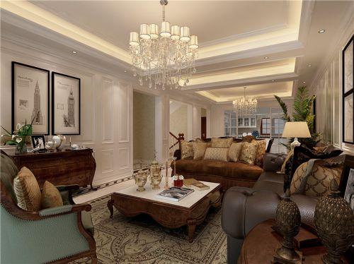 美式风格别墅客厅背景墙装修效果图