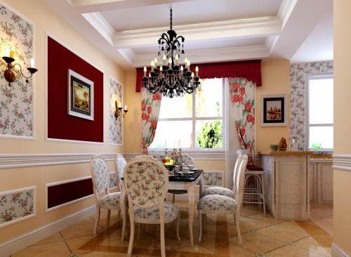 美式田园五居室客厅飘窗装修图片