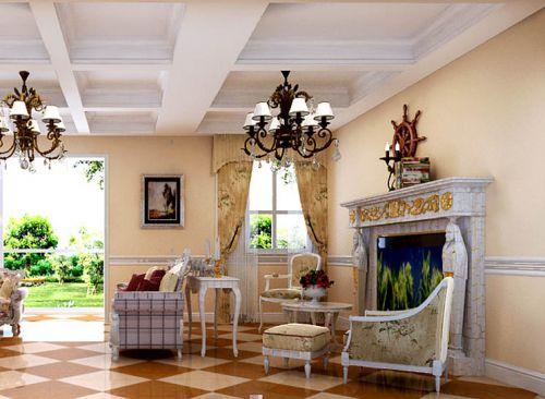美式田园五居室客厅窗帘装修图片