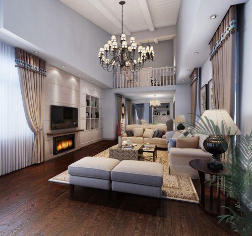 美式风格别墅客厅吊顶装修效果图大全