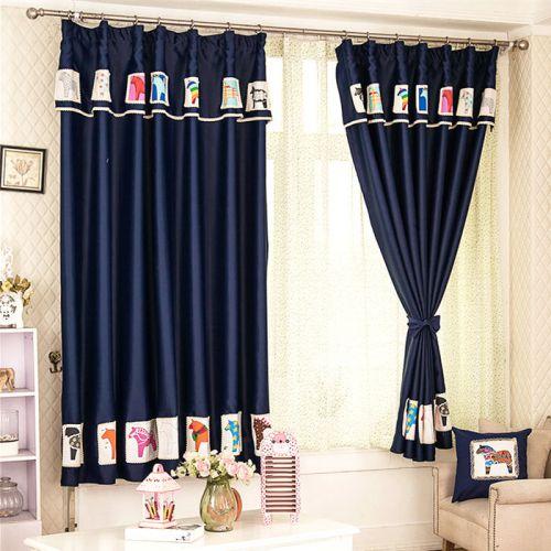 蓝色美式风格客厅创意窗帘效果图