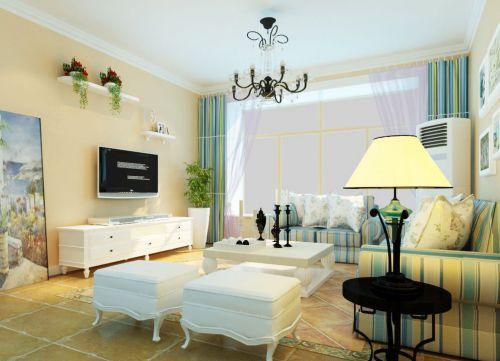 美式田园家居客厅米色壁纸装修效果图