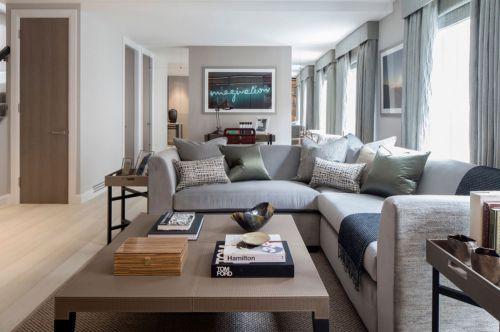 白色休闲美式沙发窗帘书桌客厅装修效果图