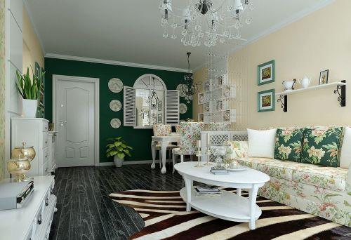 淡绿色美式客厅背景墙效果图
