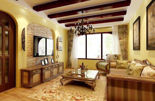 复古美式别墅客厅吊顶效果图