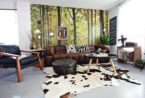 110平混搭美式客厅背景墙装修效果图
