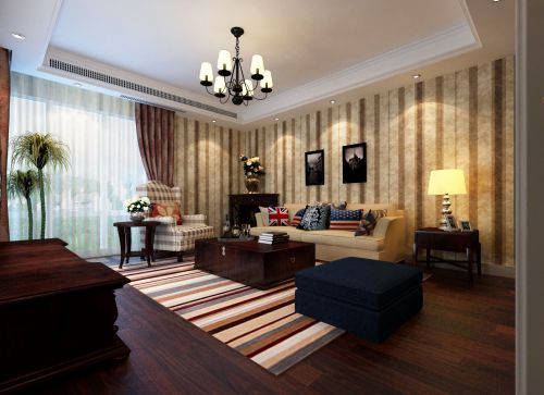 美式二居室客厅背景墙效果图