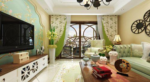 清爽美式客厅碎花窗帘效果图
