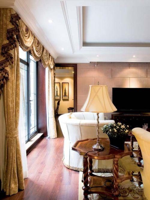 帷幕窗帘休闲沙发美式客厅装修效果图