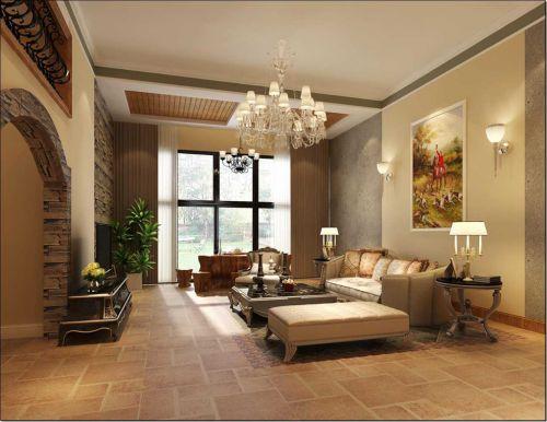 美式乡村风格四居室客厅装修图片欣赏