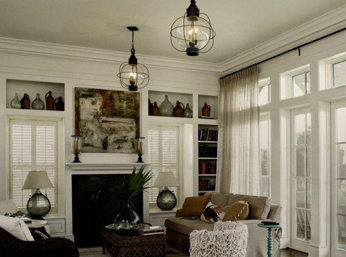 美式风格典雅别致客厅灯具装修实景图