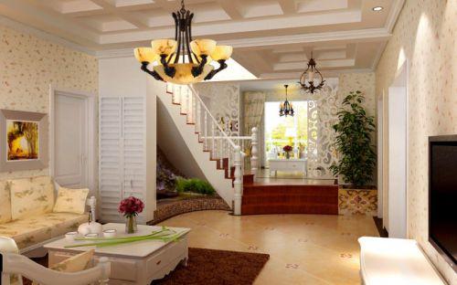美式田园三居室客厅装修效果图