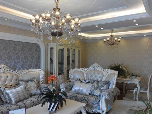 三居室美式精美黄色客厅灯具效果图