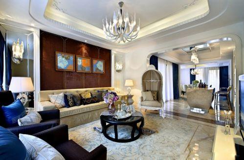 大气优雅沙发茶几美式大宅客厅装修效果图