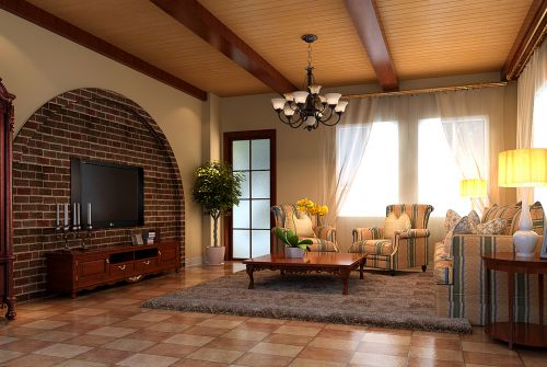 美式乡村别墅客厅装修效果图大全