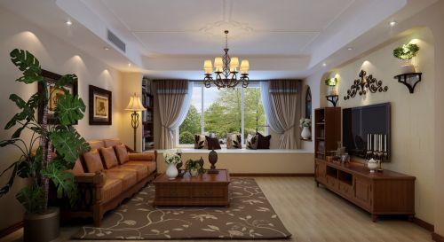 简约美式四居室客厅吊顶装修效果图大全