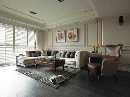 120平浪漫休闲美式沙发茶几客厅装修效果图