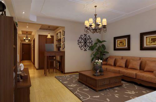简约美式四居室客厅背景墙装修效果图