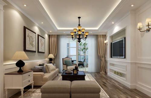 美式风格二居室客厅窗帘装修效果图大全