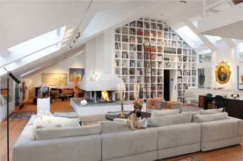 135平雅致公寓美式风格客厅实景图