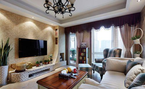 美式乡村风格三居室客厅吧台装修效果图大全
